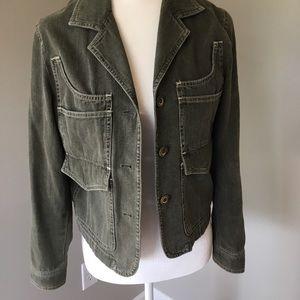 J. Jill 100% Cotton Dark Green Jacket